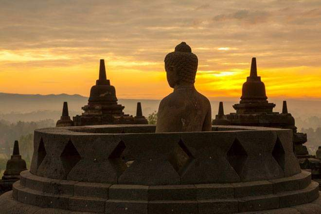 BOROBUDUR SUNRISE From INSIDE THE TEMPLE
